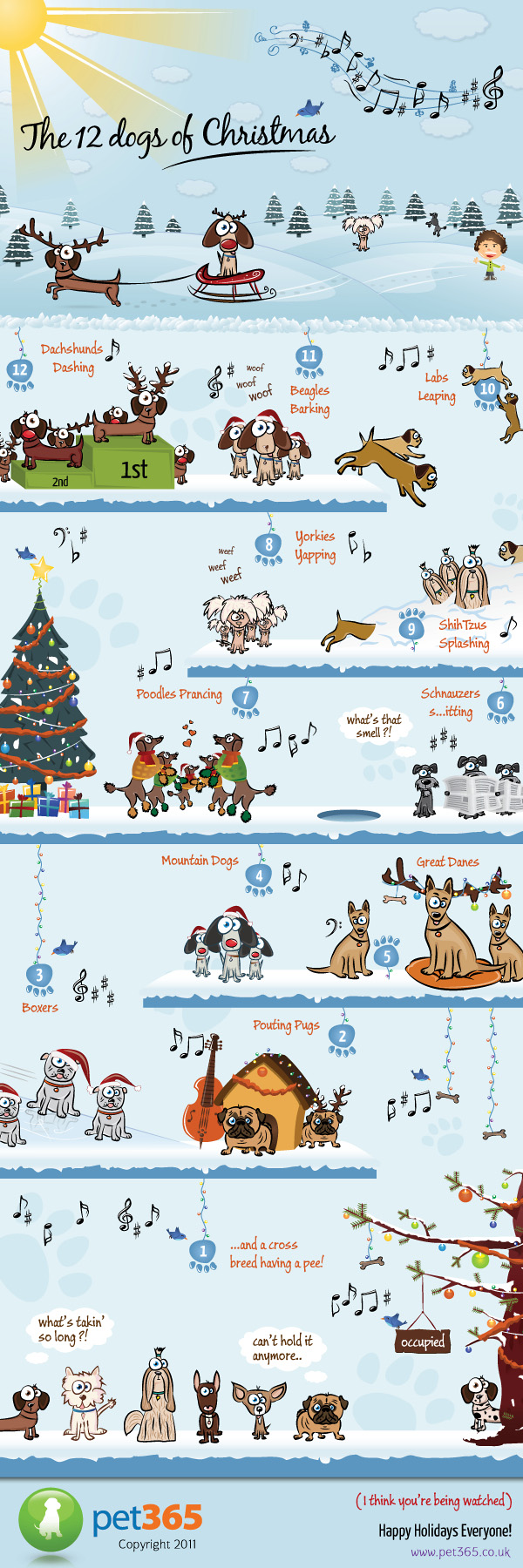 12 dogs of Christmas Fun Infographic