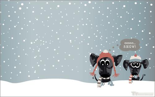 free dachshund winter desktop theme